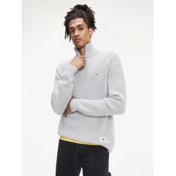 TOMMY JEANS JERSEY ZIP MOCK GREY