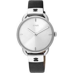 TOUS RELOJ LET LEATHER SS ESF PLATA CORREA NEGRA