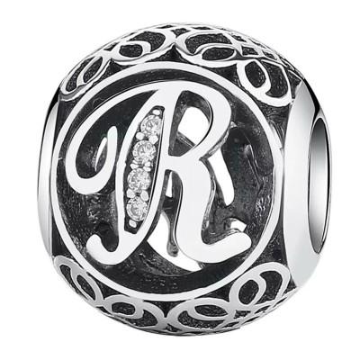 Pandora charm plata circonita letra R
