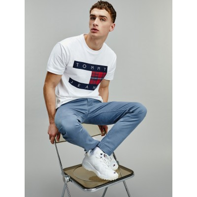 TOMMY CAMISETA PLAID CENTRE BLANCA