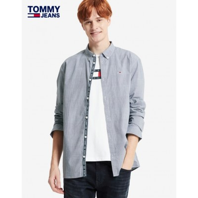 TOMMY CAMISA TAPE MIXED GINGH NAVY
