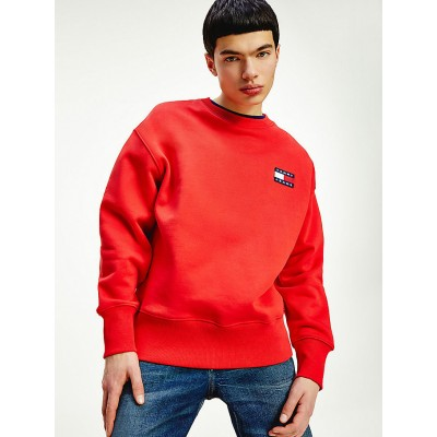 TOMMY JEANS SUDADERA BADGE CREW DEEP CRIMSON