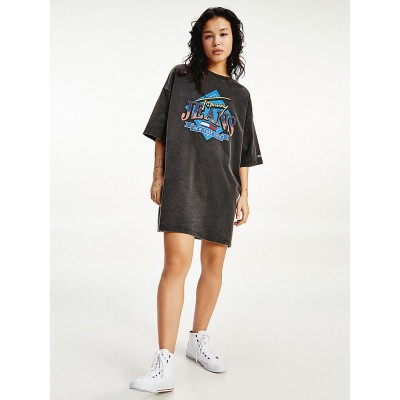 TOMMY JEANS VINTAGE GRAPHIC TEE DRESS BLACK