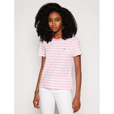 TOMMY JEANS CLASSIC STRIPE TEE PINK DAISY/MULTI